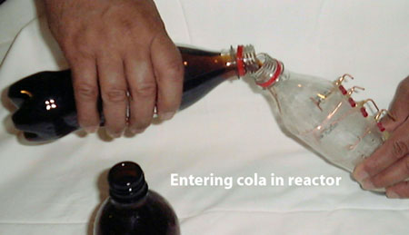 cola bottle plasma reactor with energy liquids
